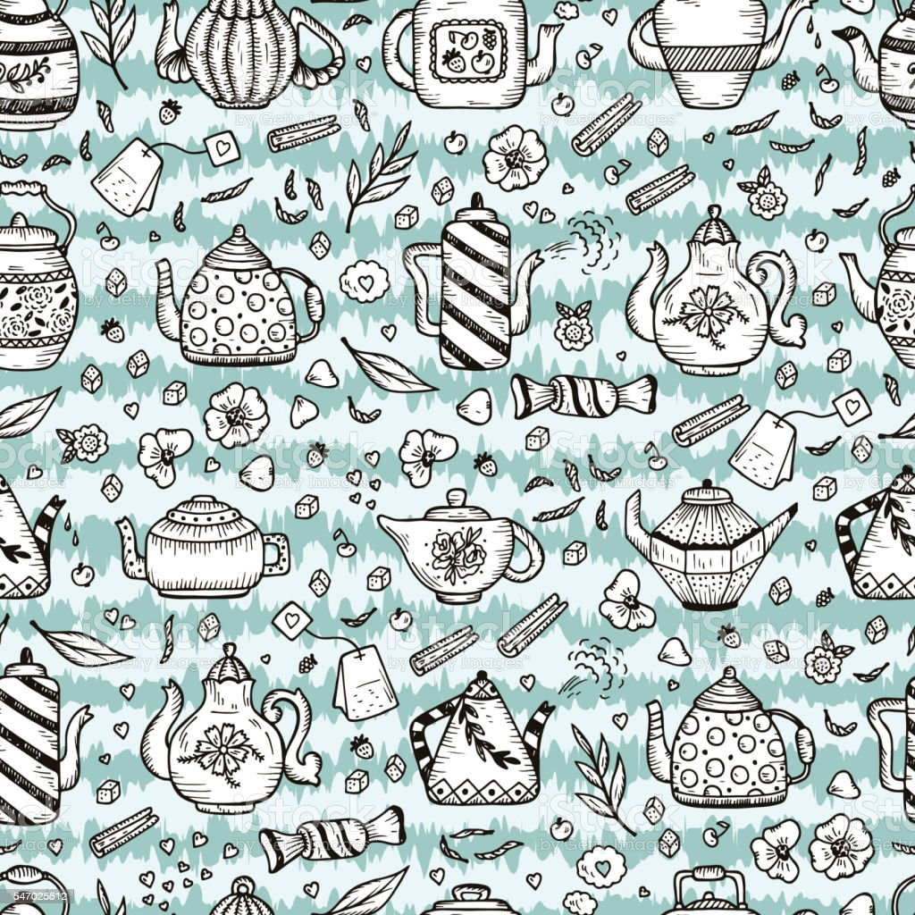 Hand Drawn Doodle Different Teapots Vector Seamless pattern vector art illustration