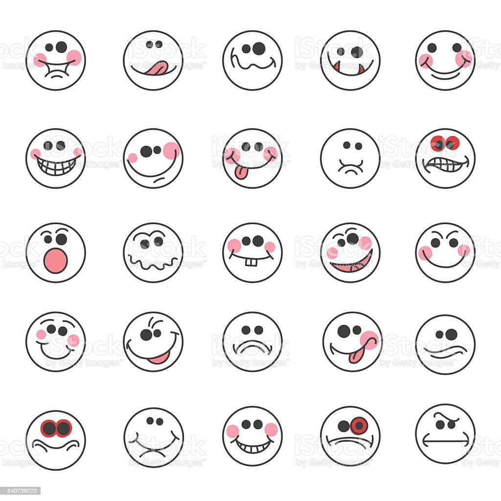 Hand drawn doodle emoticons vector art illustration