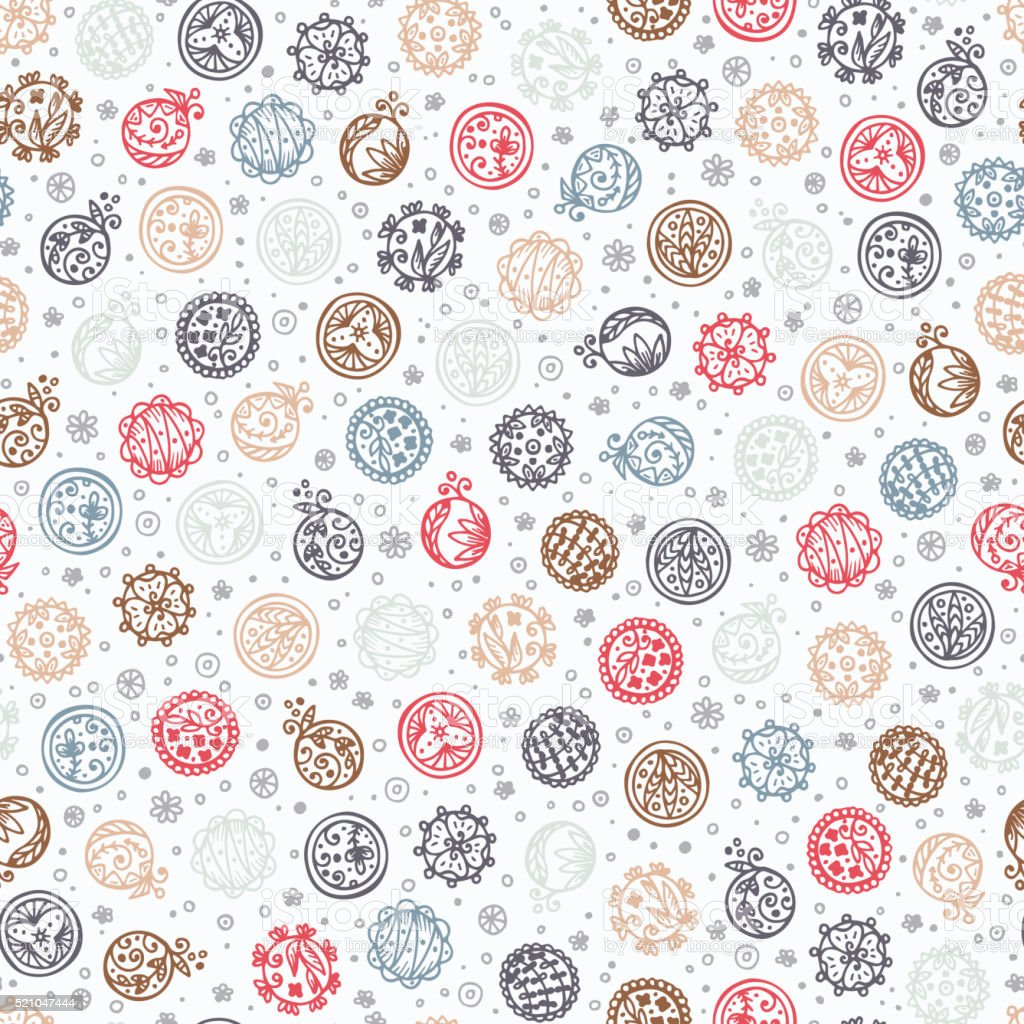 Hand drawn doodle floral circles - Abstract Seamless Pattern vector art illustration