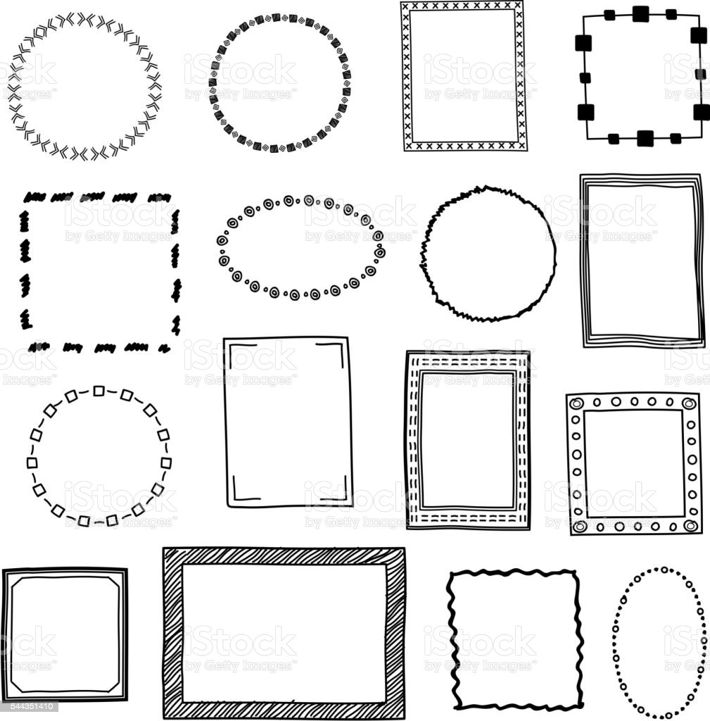 Hand Drawn Doodle Frames Borders Vector Set stock vector ...