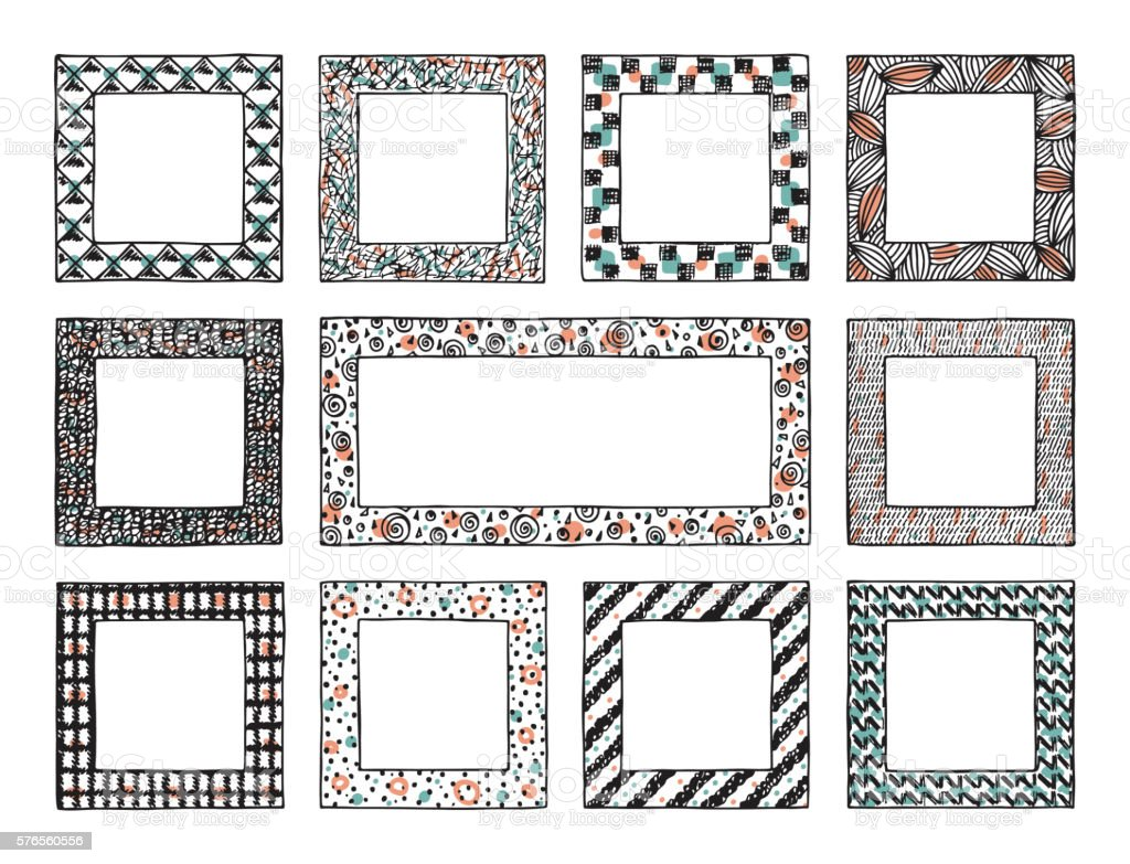 Hand Drawn doodle Frames with abstract ornaments vector art illustration
