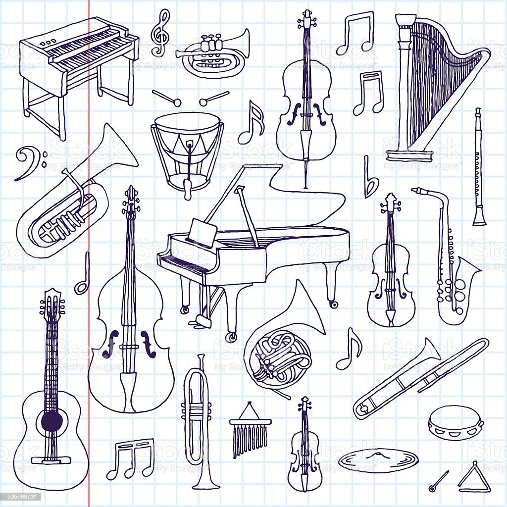 Hand drawn doodle musical instruments. Classical orchestra. Vector illustration. vector art illustration