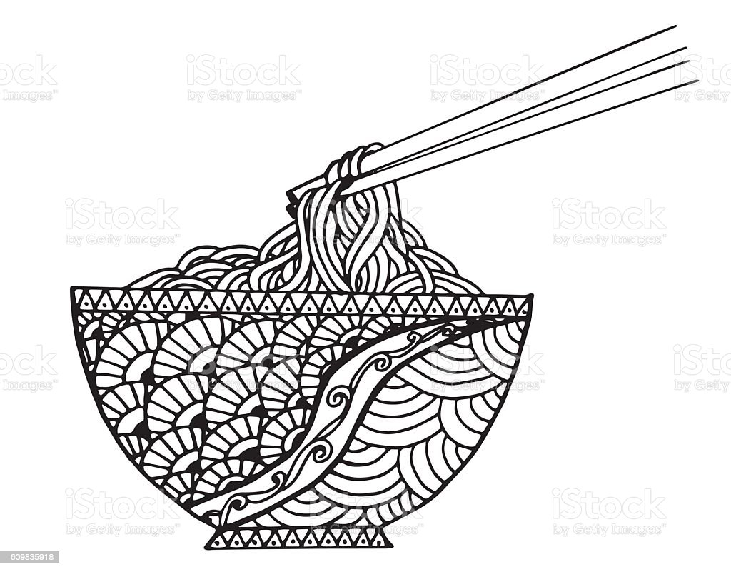 Hand drawn doodle Noodle at bowl and stick. vector art illustration
