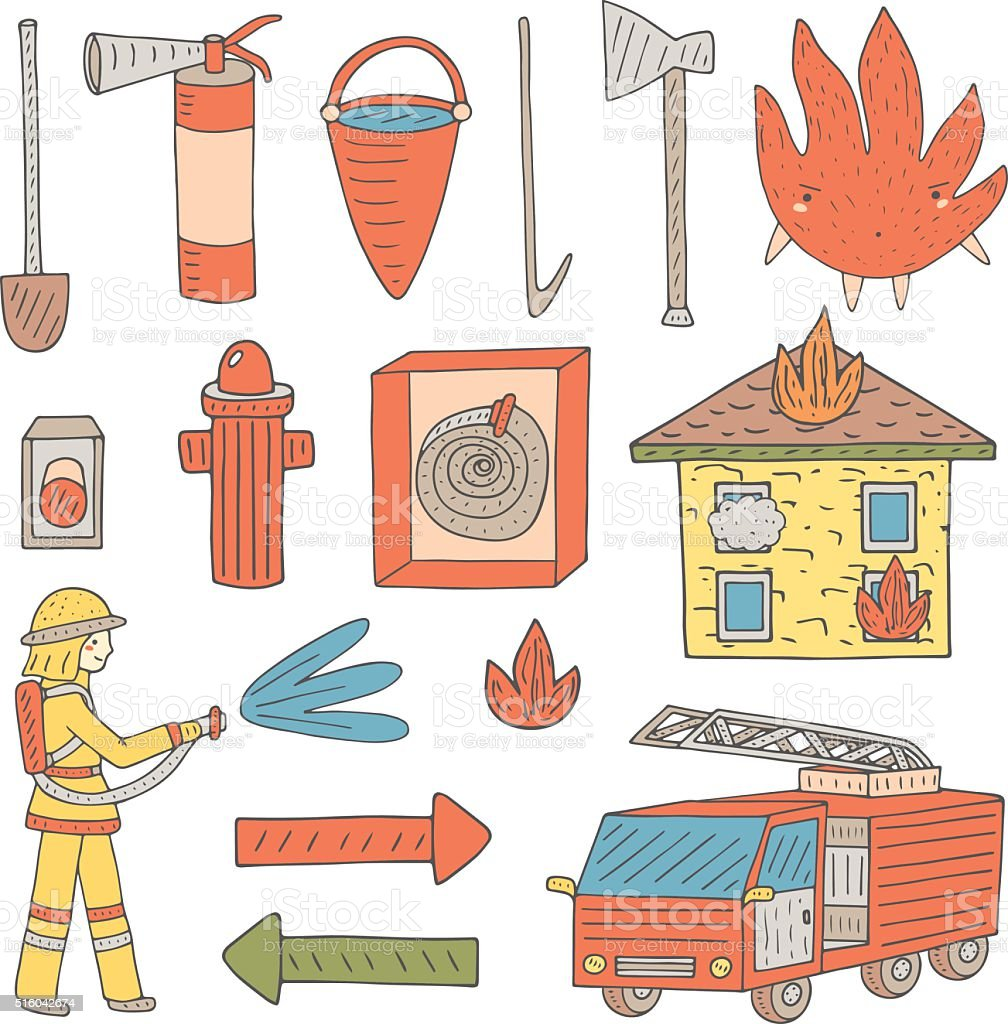 Hand drawn doodle objects collection that fireman needs vector art illustration