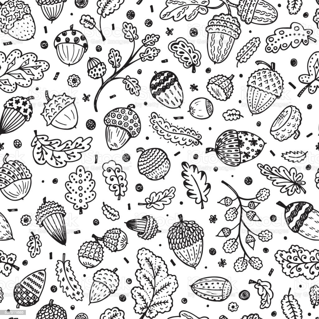 Hand drawn doodle Ornamental Acorns and oak leaves seamless pattern vector art illustration