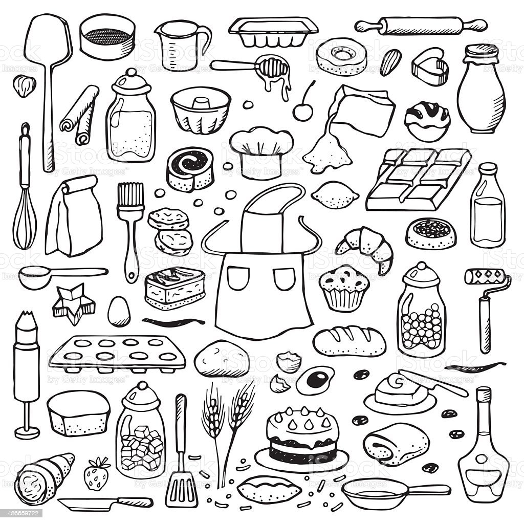 Hand drawn doodle set with bakery elements vector art illustration