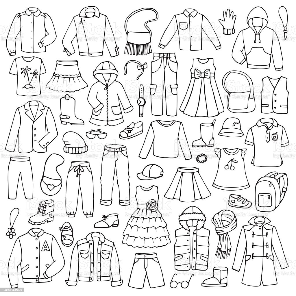 Hand drawn doodle set with childish clothes vector art illustration