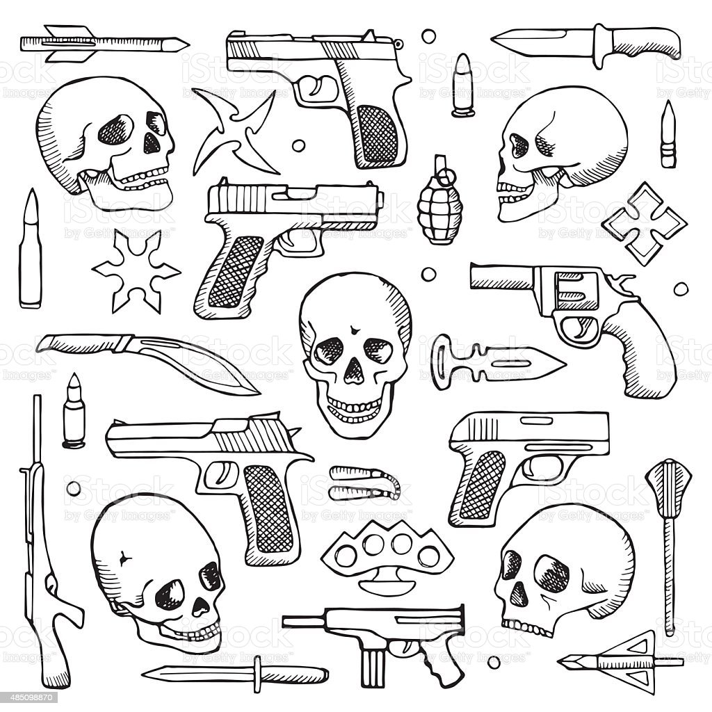 Hand drawn doodle set with skulls and guns vector art illustration