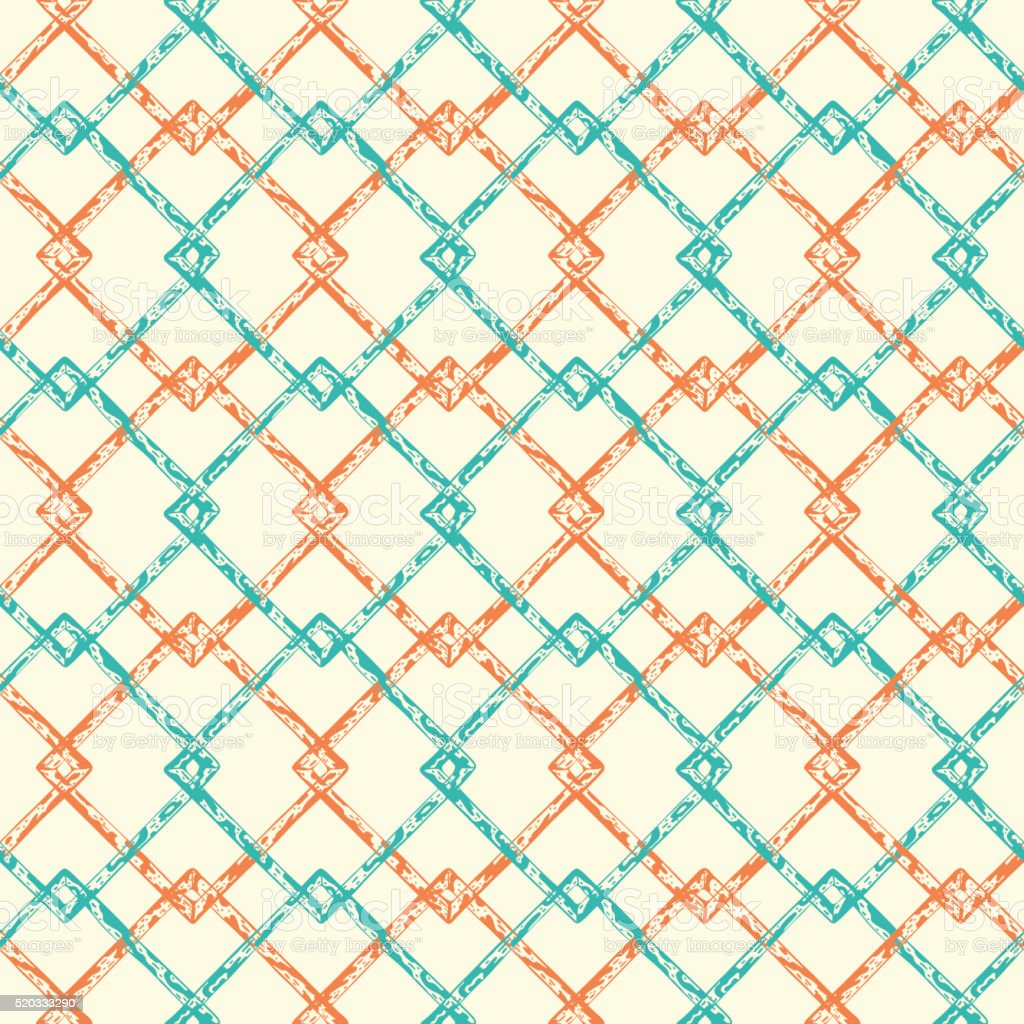 Hand Drawn doodle spotted squares Seamless pattern. Abstract background vector art illustration