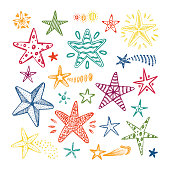 Hand drawn doodle Star Vector Set