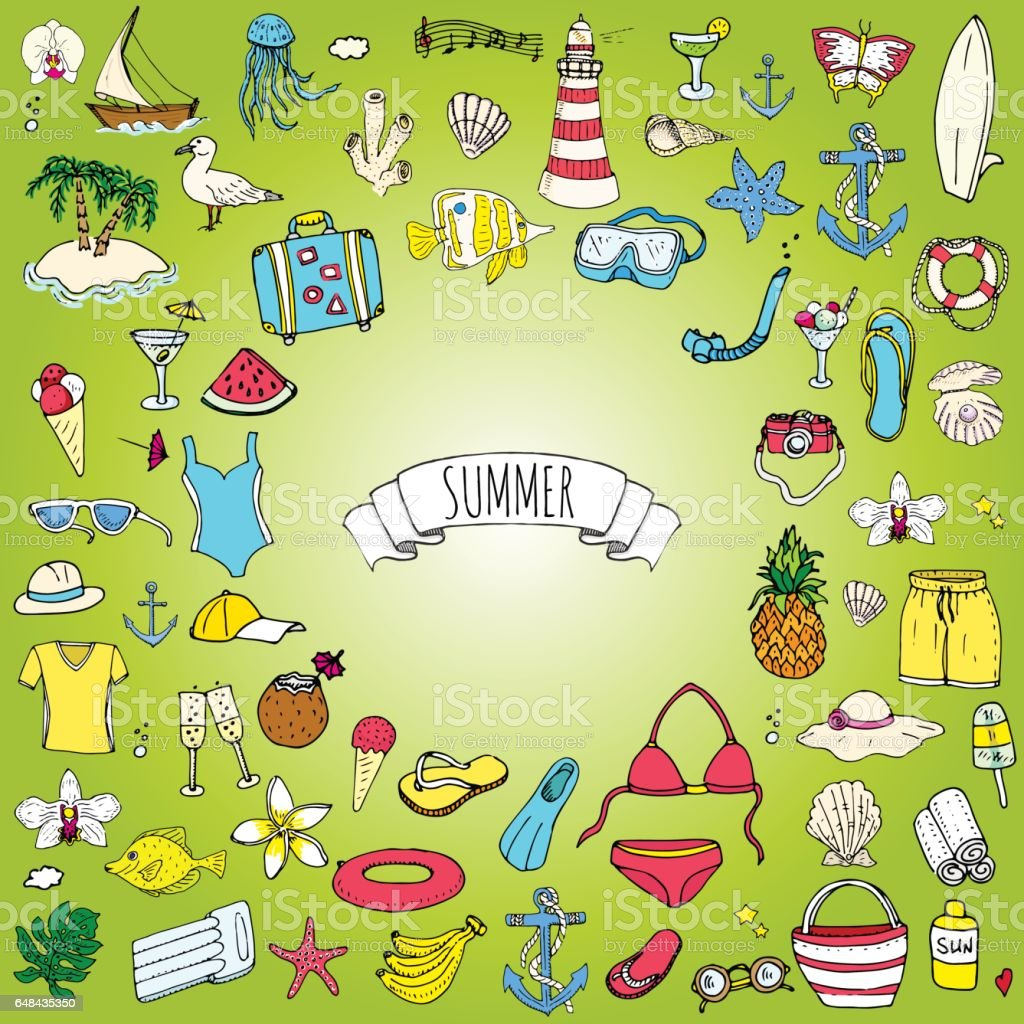 Hand drawn doodle summer set icons Vector illustration Sketchy summer holiday elements collection Isolated vacation objects Cartoon summer beach journey symbols Summertime traveling background vector art illustration