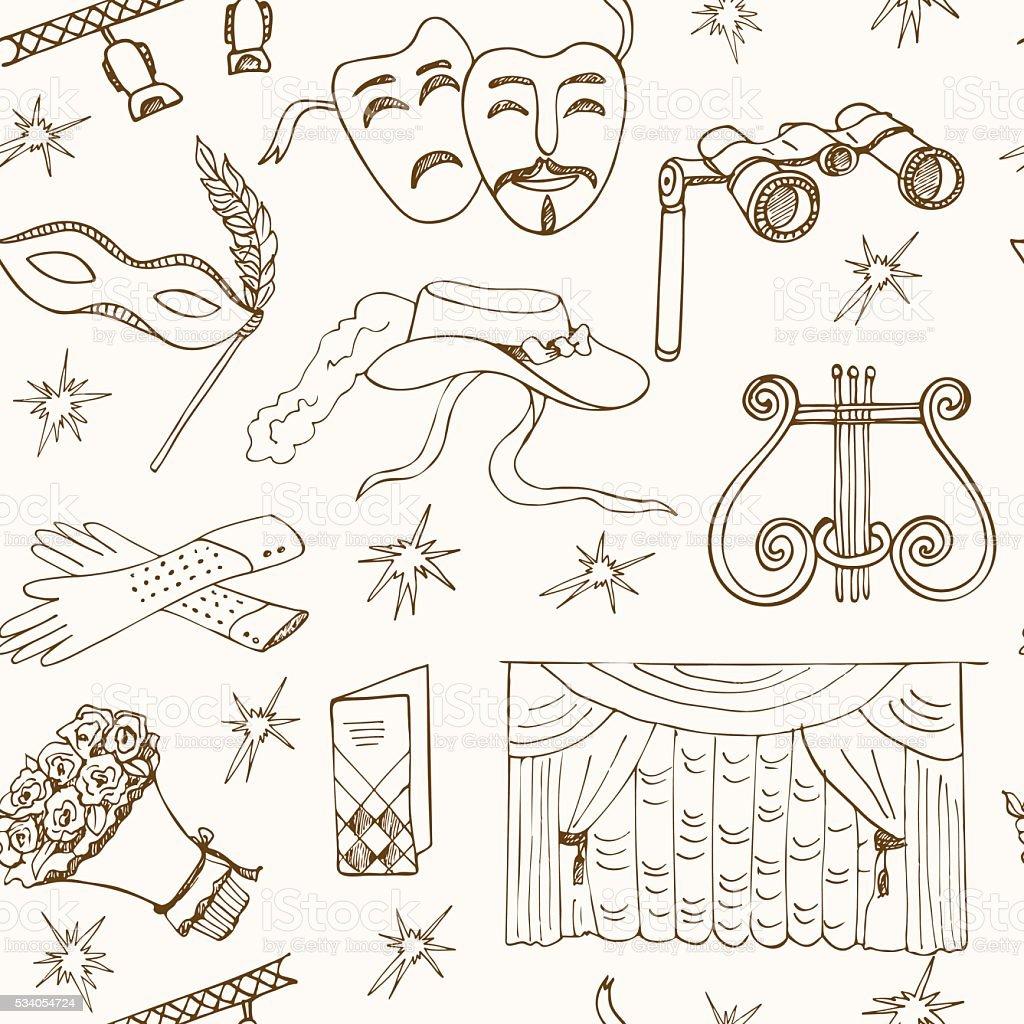 Hand drawn doodle Theater seamless pattern vector art illustration