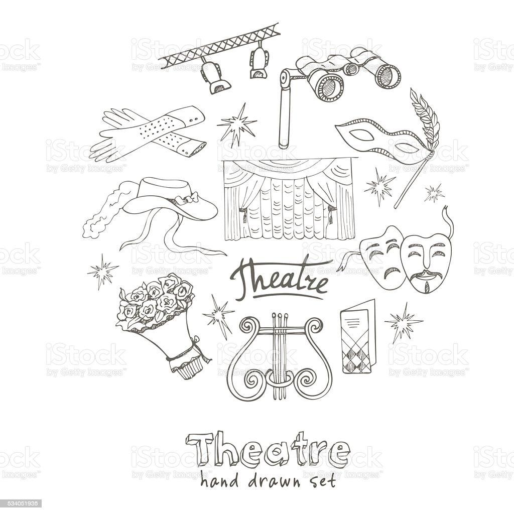 Hand drawn doodle Theater set vector art illustration