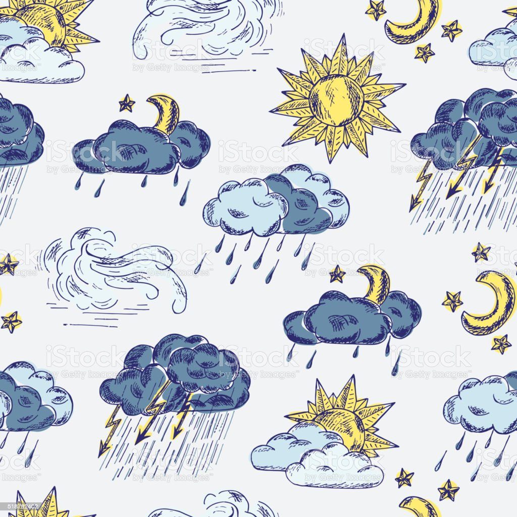 Hand drawn doodle Weather symbols seamless pattern vector art illustration