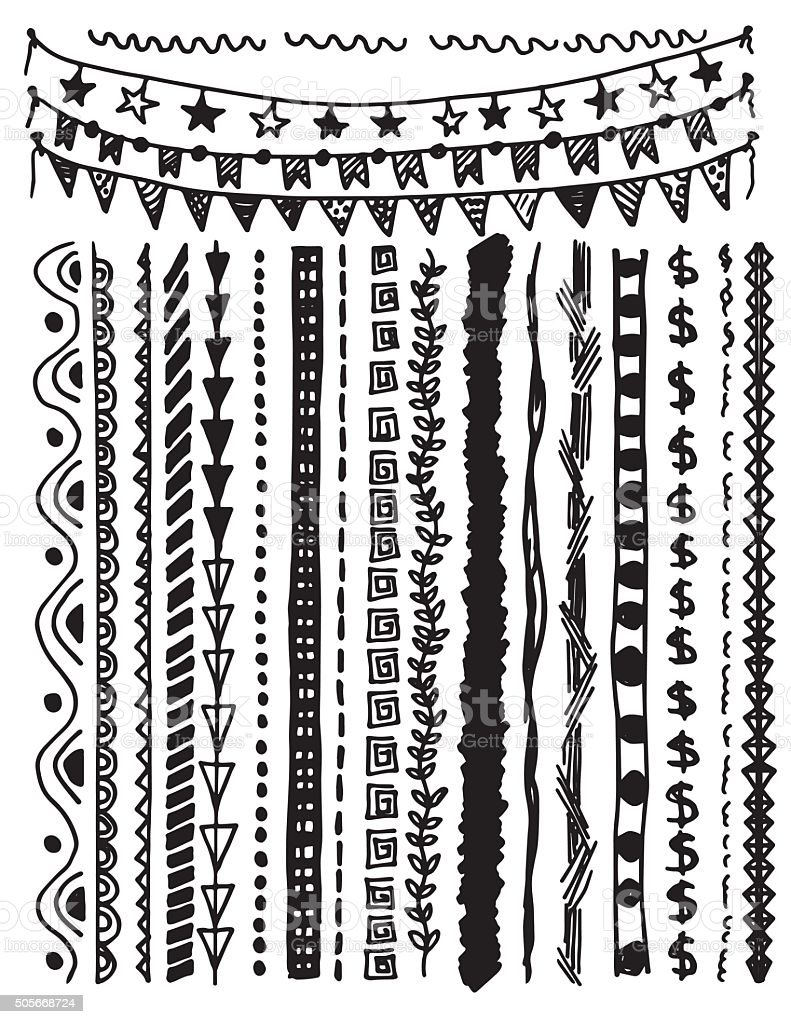 Hand Drawn Doodled Lines and Borders Elements vector art illustration