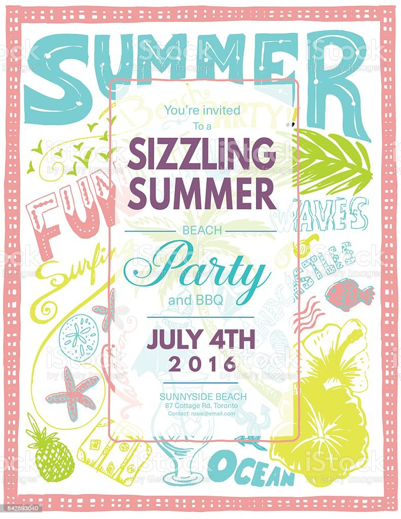 Hand Drawn Doodled Summer Beach Party Invite vector art illustration