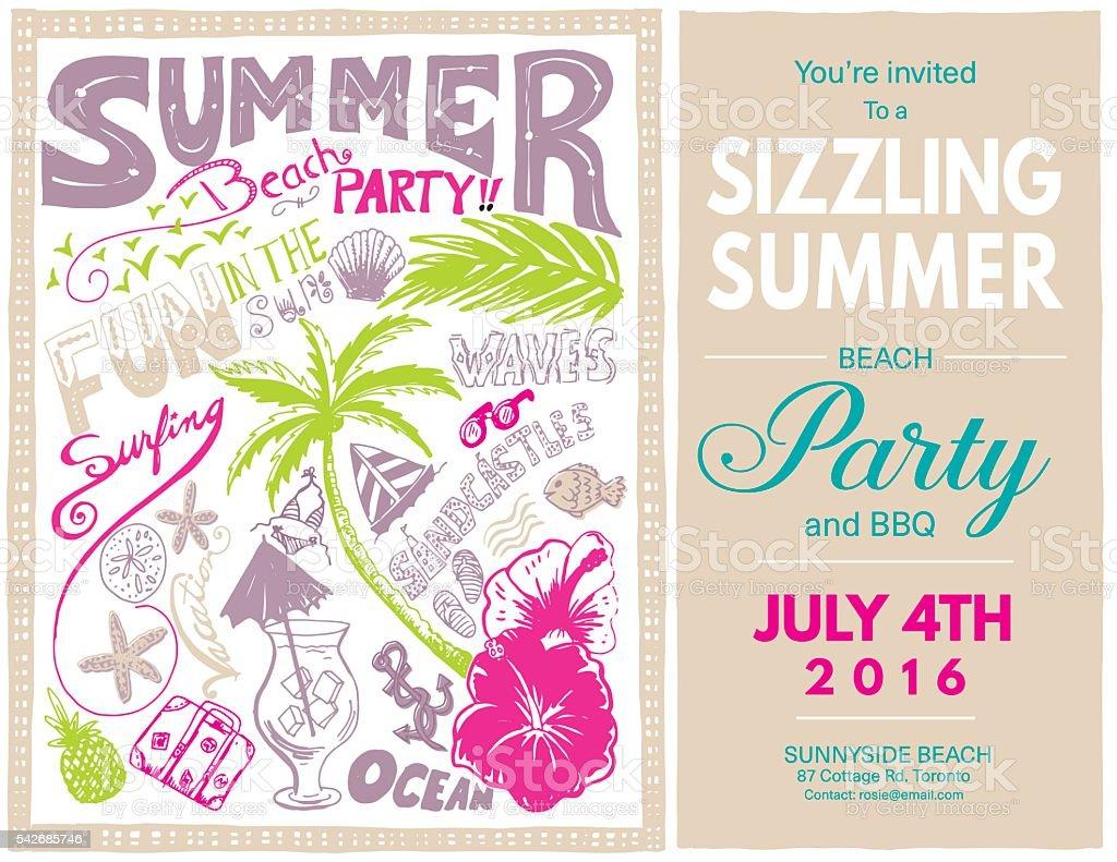 Handgezeichnet Doodled Sommer Strand Partyladen Vektor Illustration ...