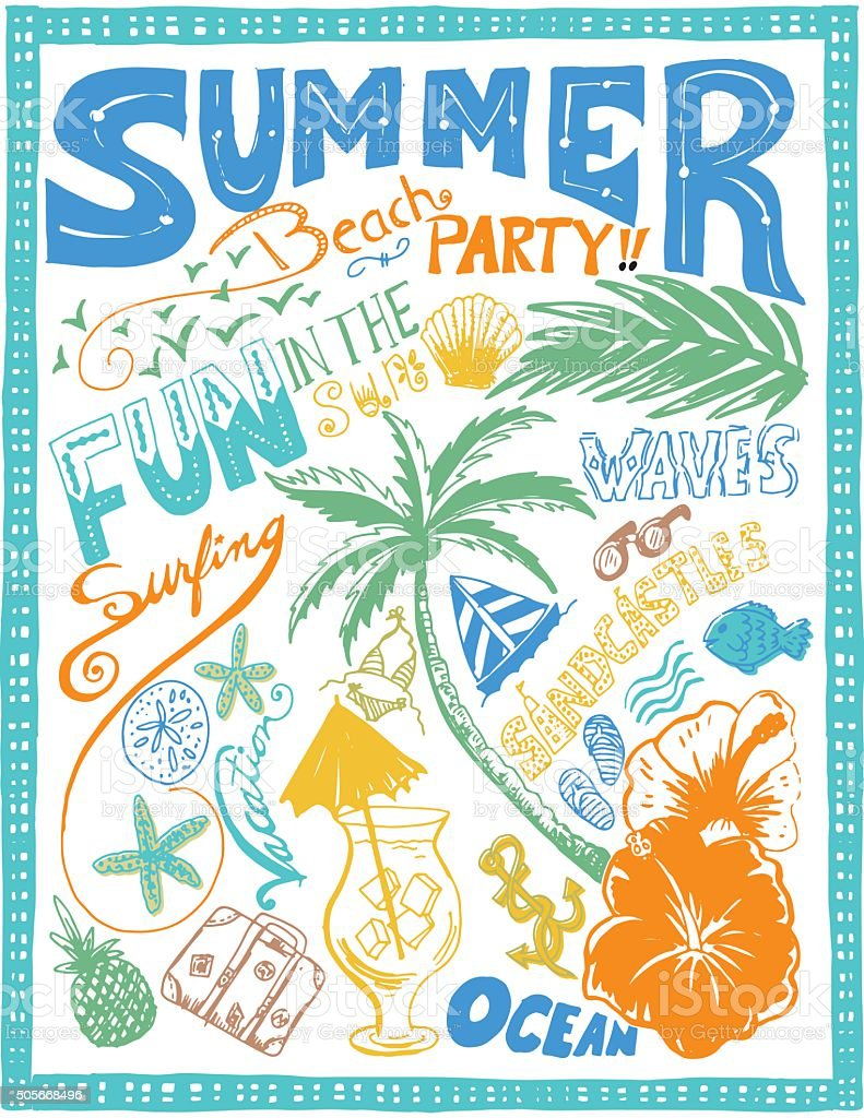 Hand Drawn Doodled Summer Beach Tropical Elements vector art illustration