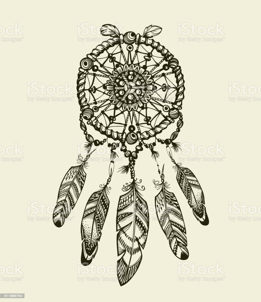 Hand drawn dreamcatcher with feathers. Vintage Indian amulet  ethnic patterns vector art illustration