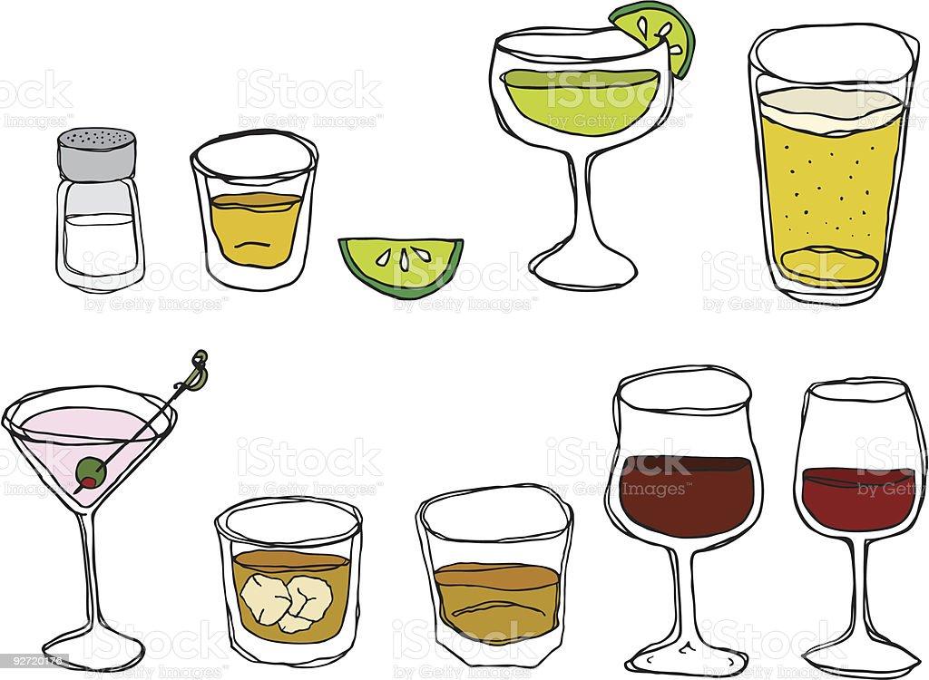 Hand Drawn Drinks in Various Glasses vector art illustration