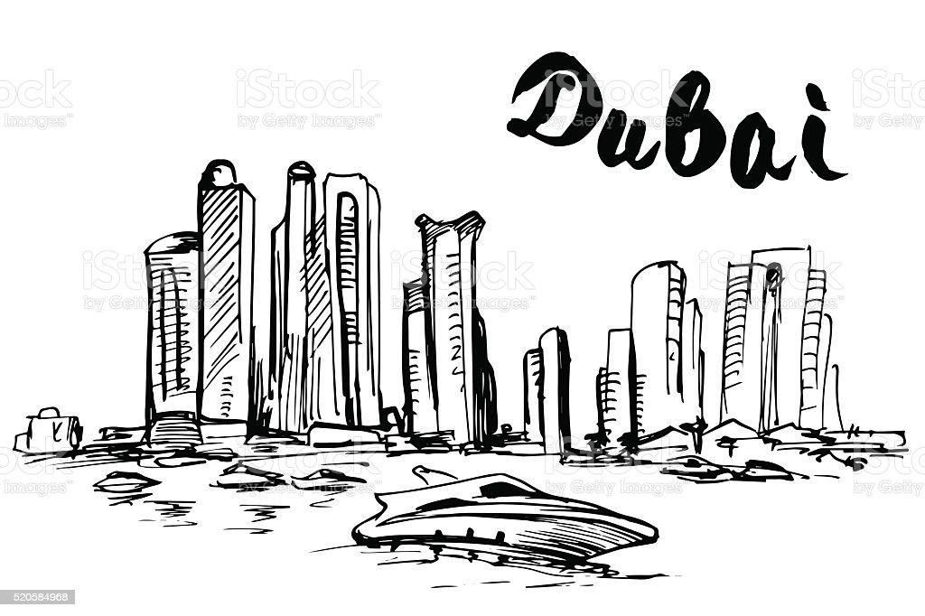 Hand drawn Dubai skyscraper vector art illustration