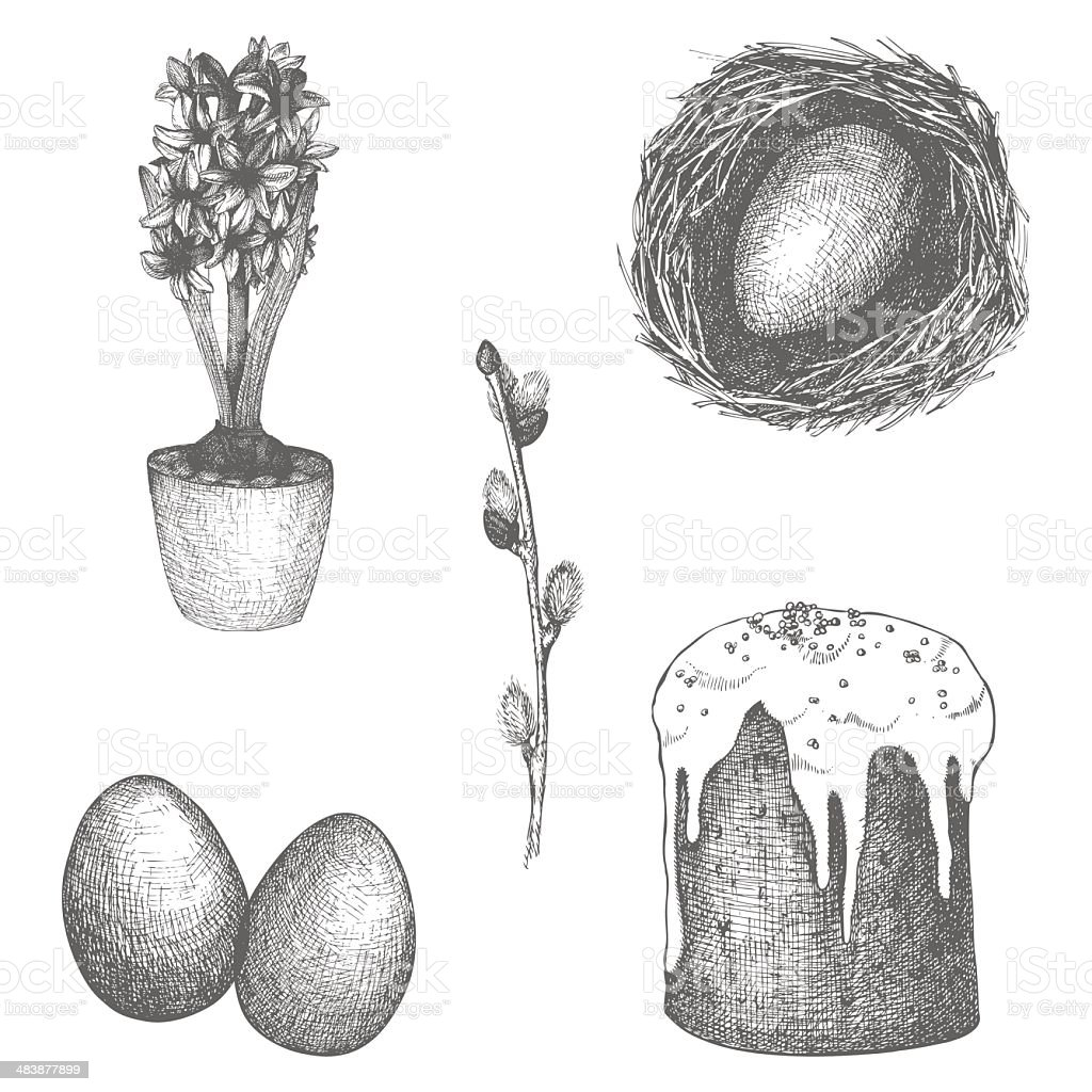 Hand drawn Easter illustrations vector art illustration