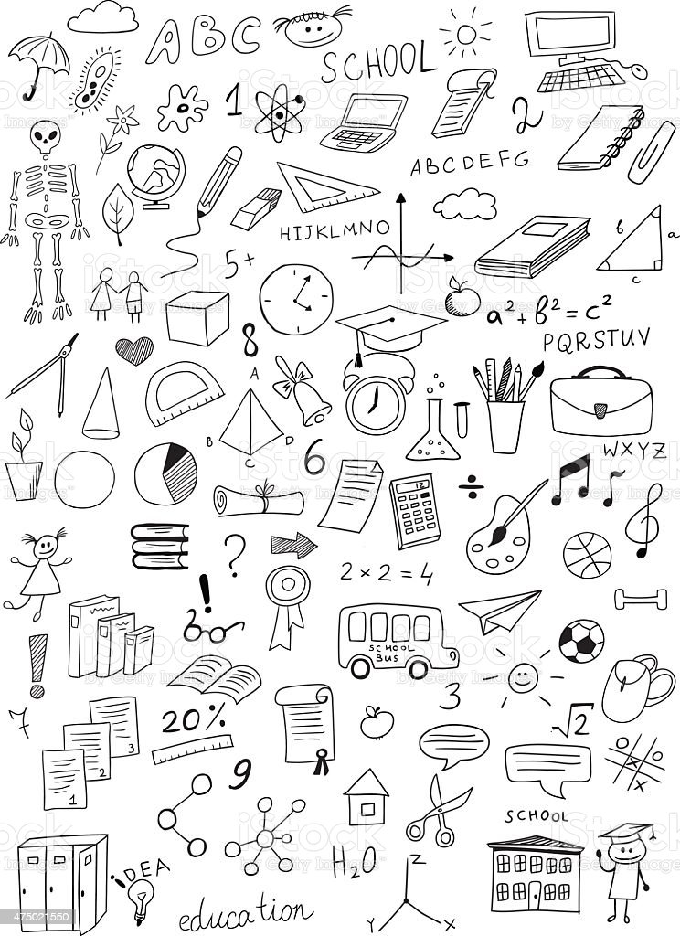 hand drawn education vector set vector art illustration