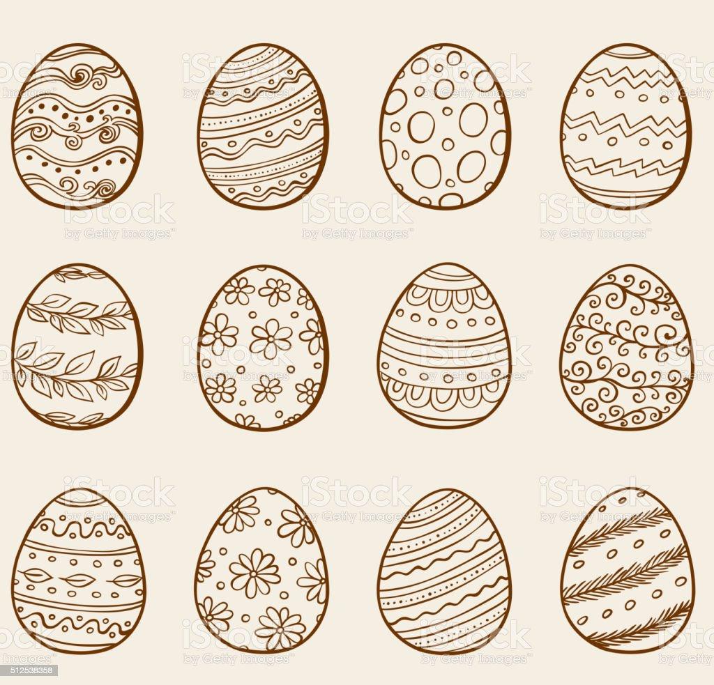 Hand drawn eggs vector art illustration
