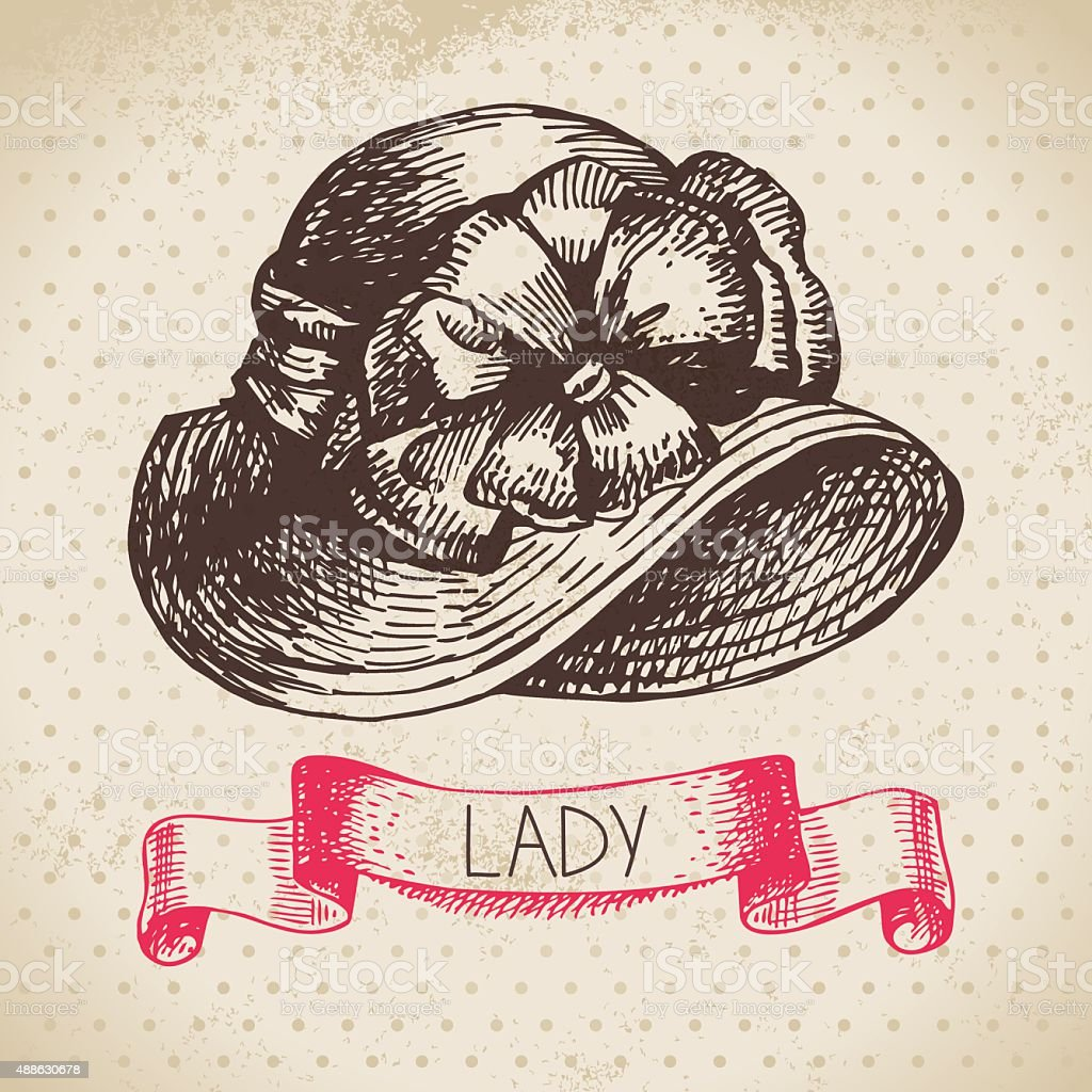 Hand drawn elegant vintage ladies background. Sketch women hat. vector art illustration