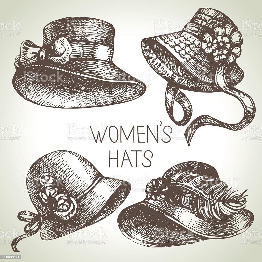 Hand drawn elegant vintage ladies set. Sketch women hats. Retro vector art illustration