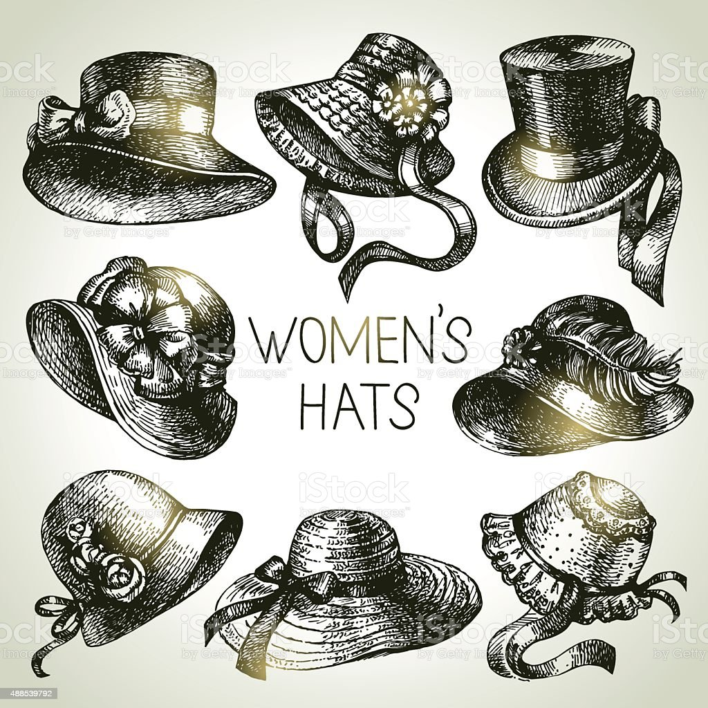 Hand drawn elegant vintage ladies set. Sketch women hats. Retro vector art illustration