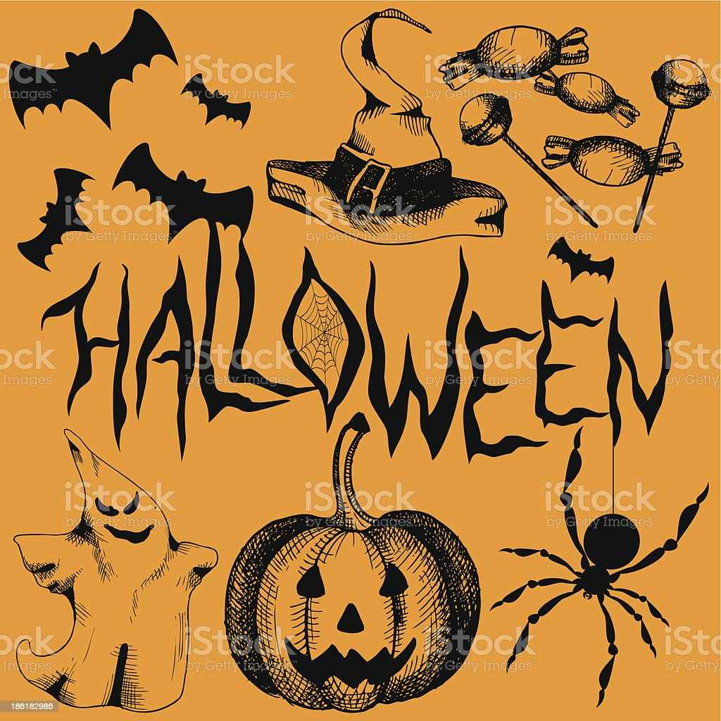 Hand drawn elements for halloween party. royalty-free stock vector art