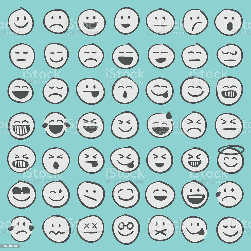 Hand drawn emoji icons set 1 royalty-free stock vector art