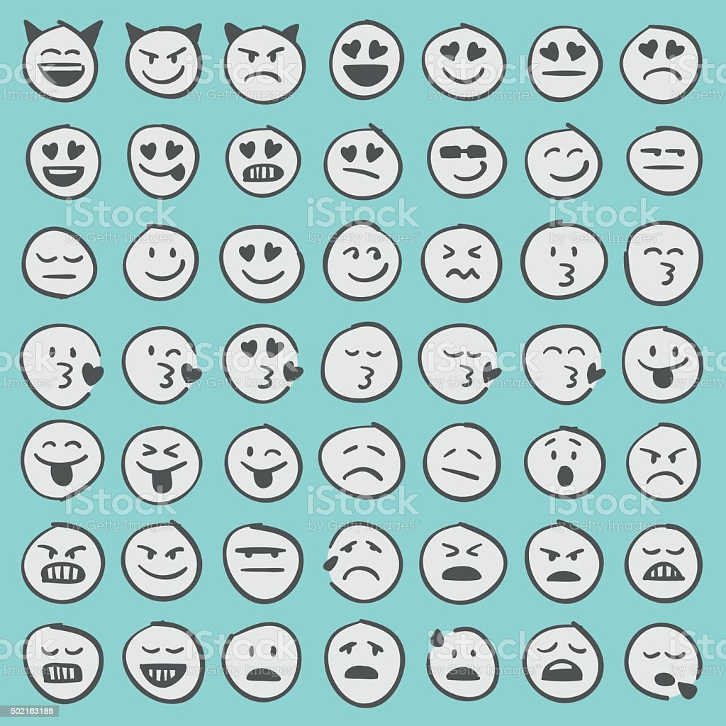 Hand drawn emoji icons set 2 vector art illustration