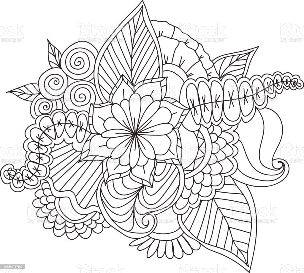 Hand drawn ethnic ornamental patterned floral frame vector art illustration