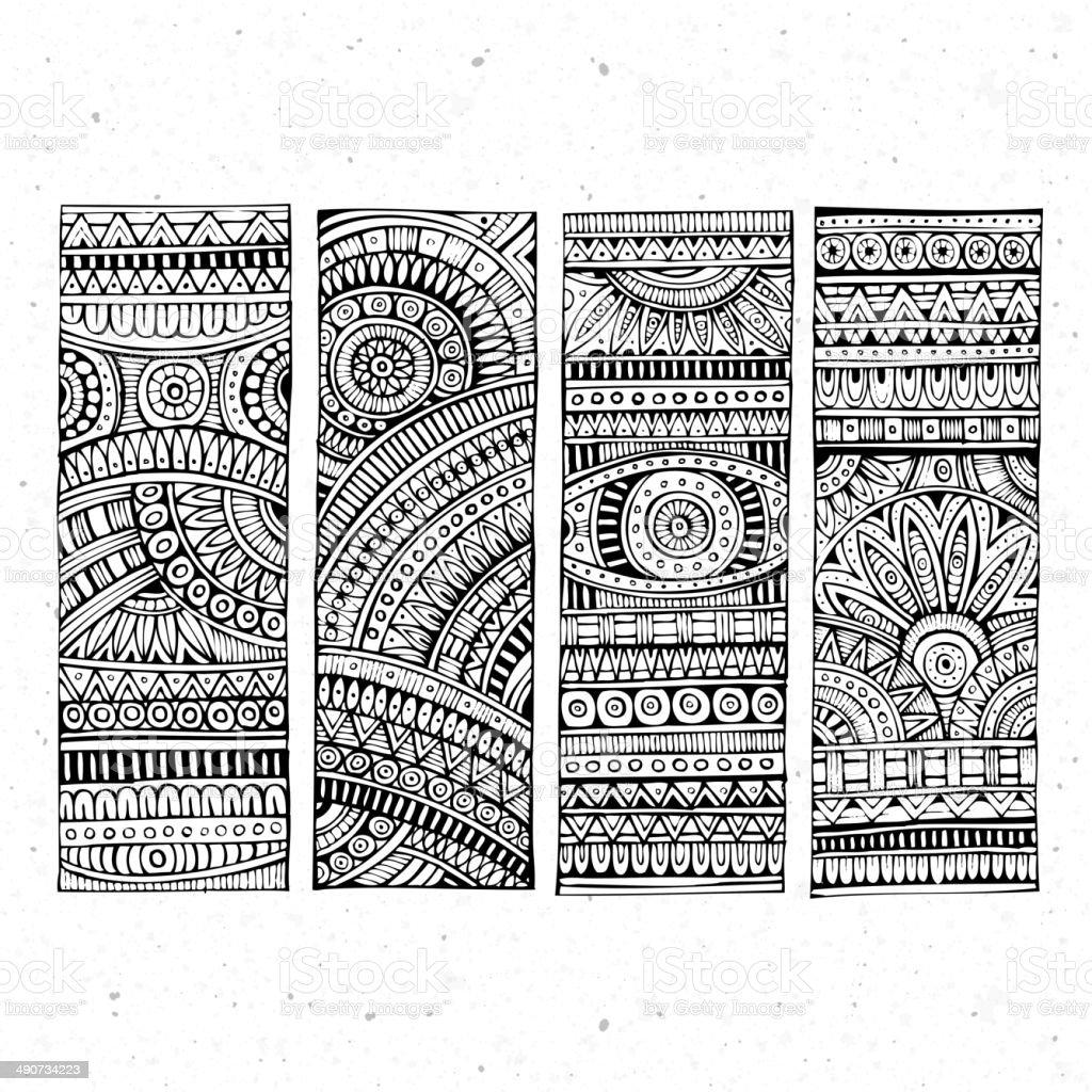 hand drawn ethnic patterns vector art illustration