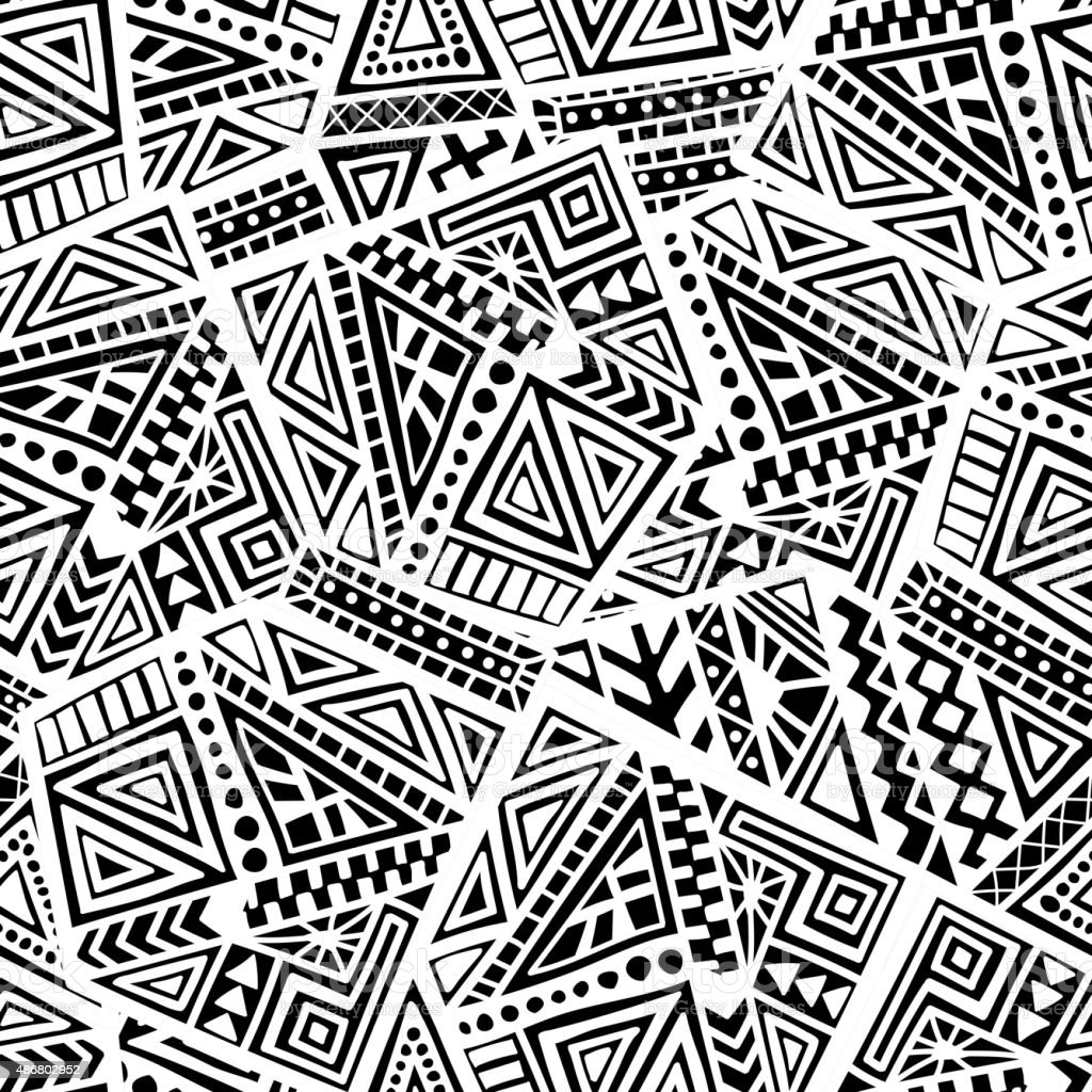 Hand Drawn Ethnic Seamless Pattern vector art illustration