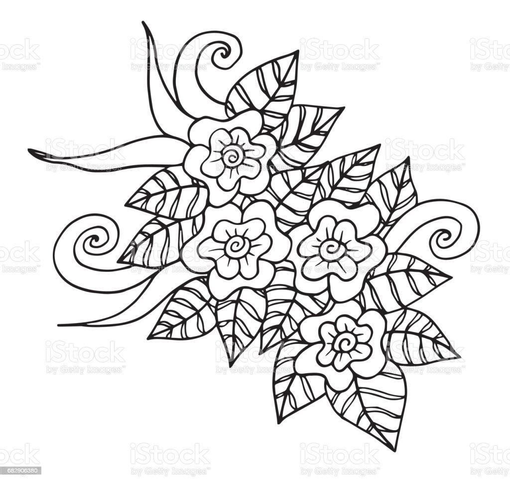 hand drawn fantasy flowers coloring page illustration batik