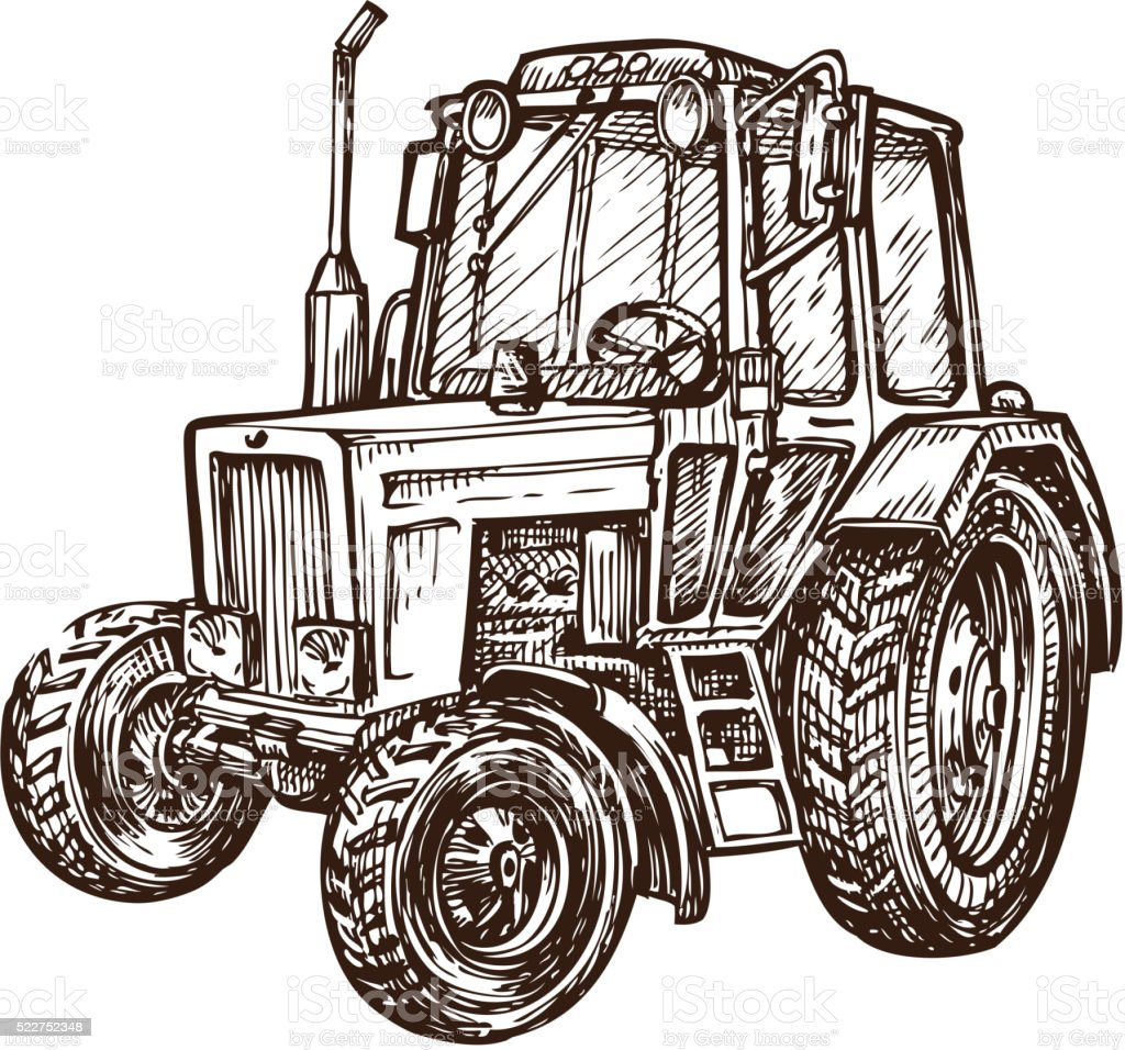 hand drawn farm tractor. sketch vector illustration vector art illustration