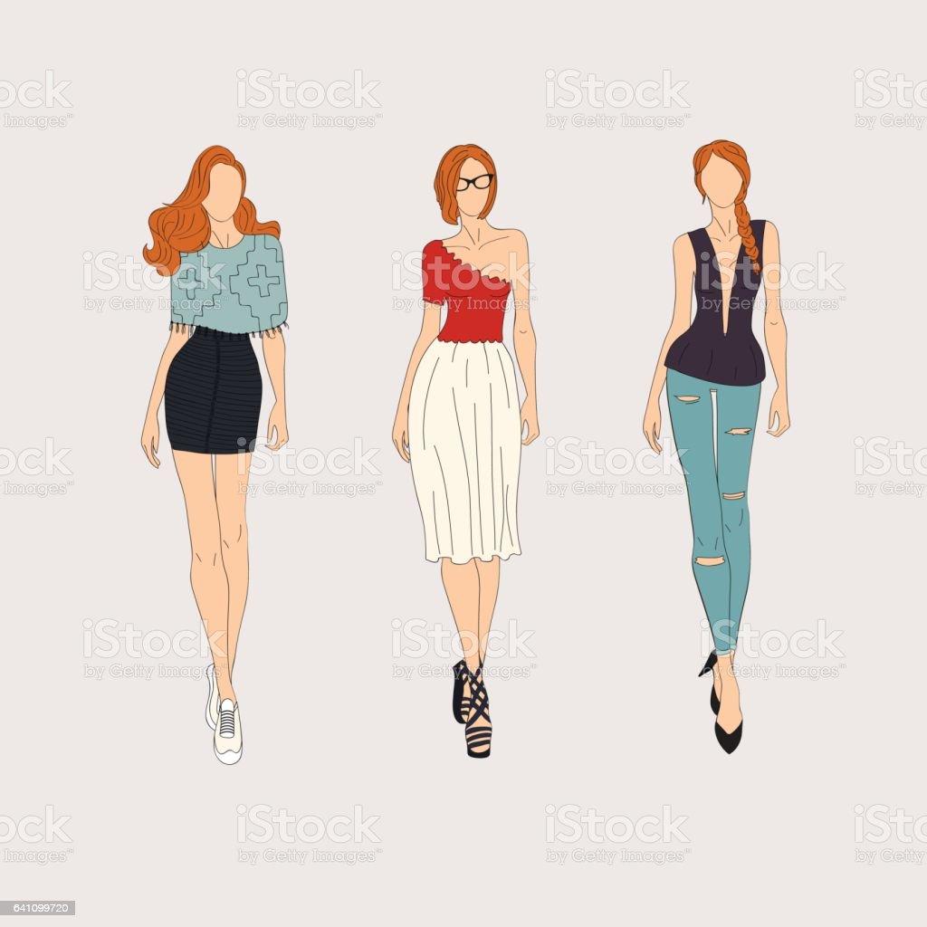 Hand drawn fashion models. Vector illustration. vector art illustration