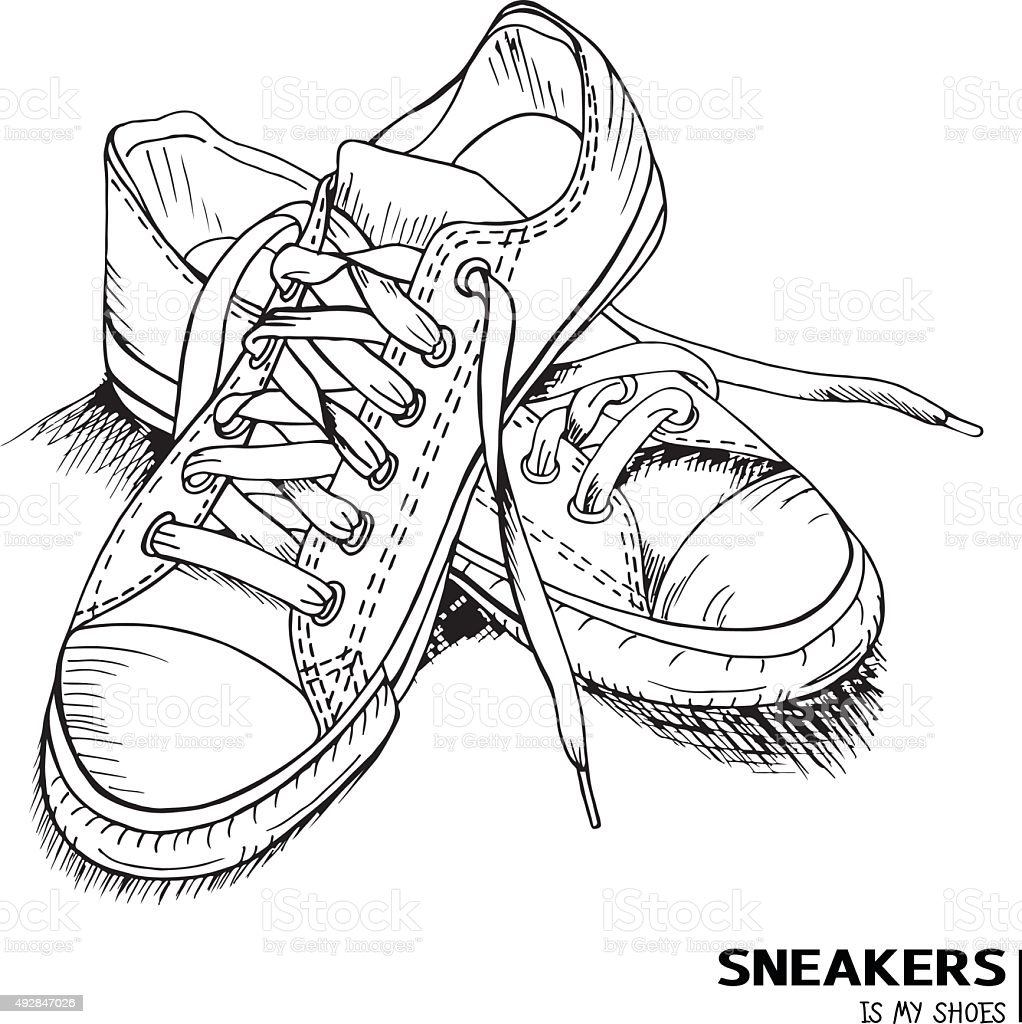 Hand drawn Fashion sneakers with title 'Sneakers is my shoes' vector art illustration