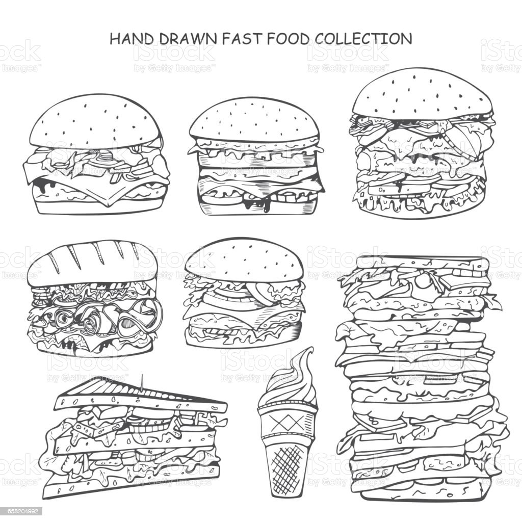 Hand drawn fast food collection. Doodle style. vector art illustration