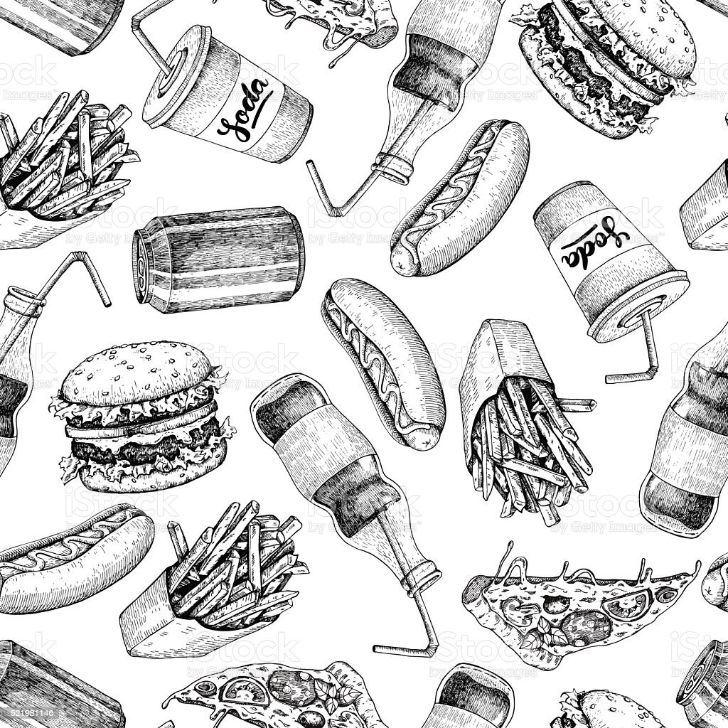Hand drawn fast food pattern. Junk food and soda drinks vector art illustration
