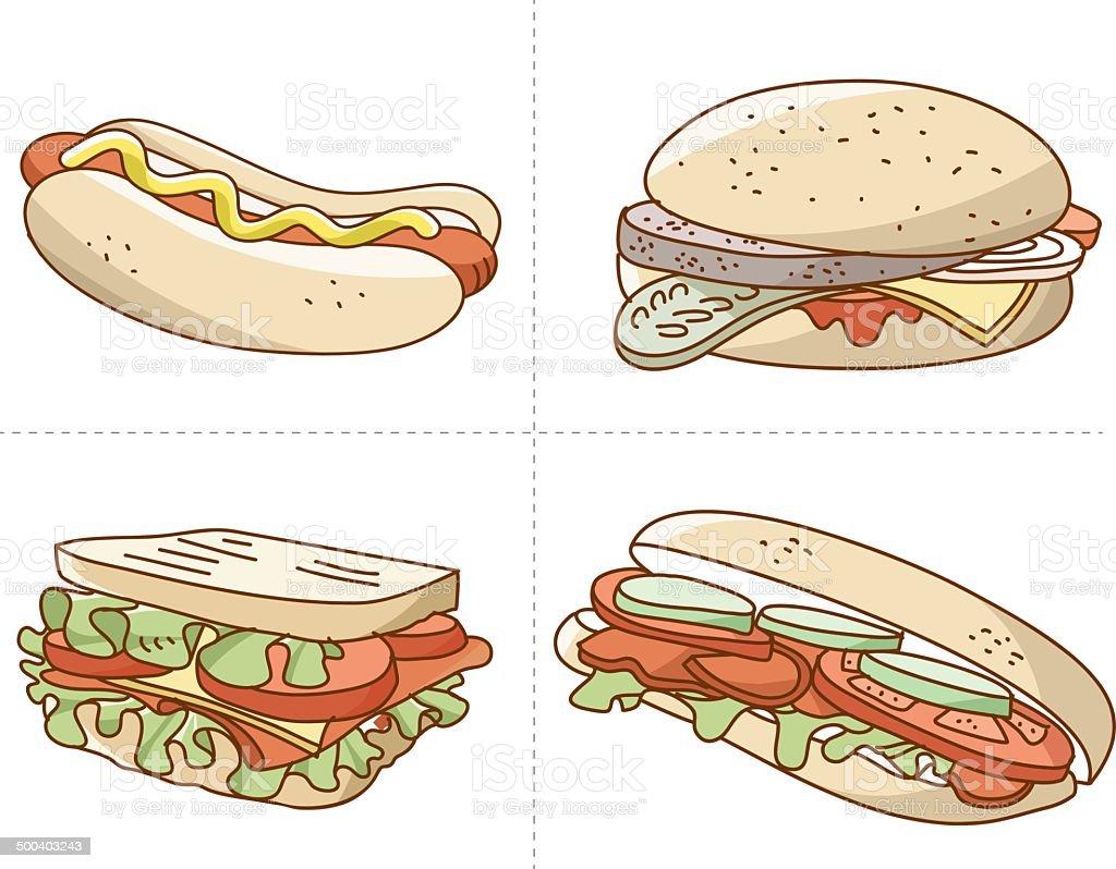 hand drawn fast food vector vector art illustration