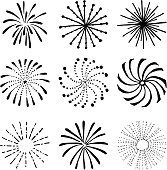 Hand drawn fireworks and sunbursts. Isolated vectors