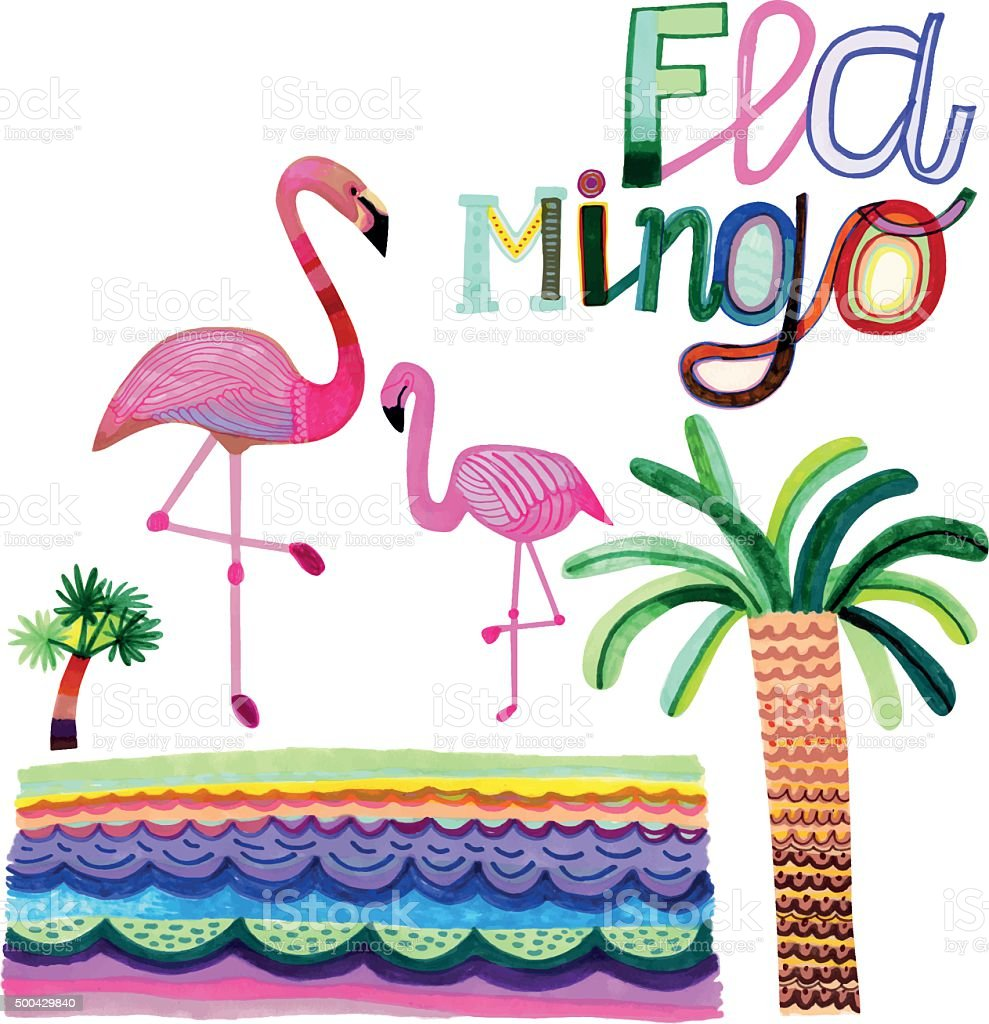 Hand drawn flamingos and palm trees isolated on white vector art illustration