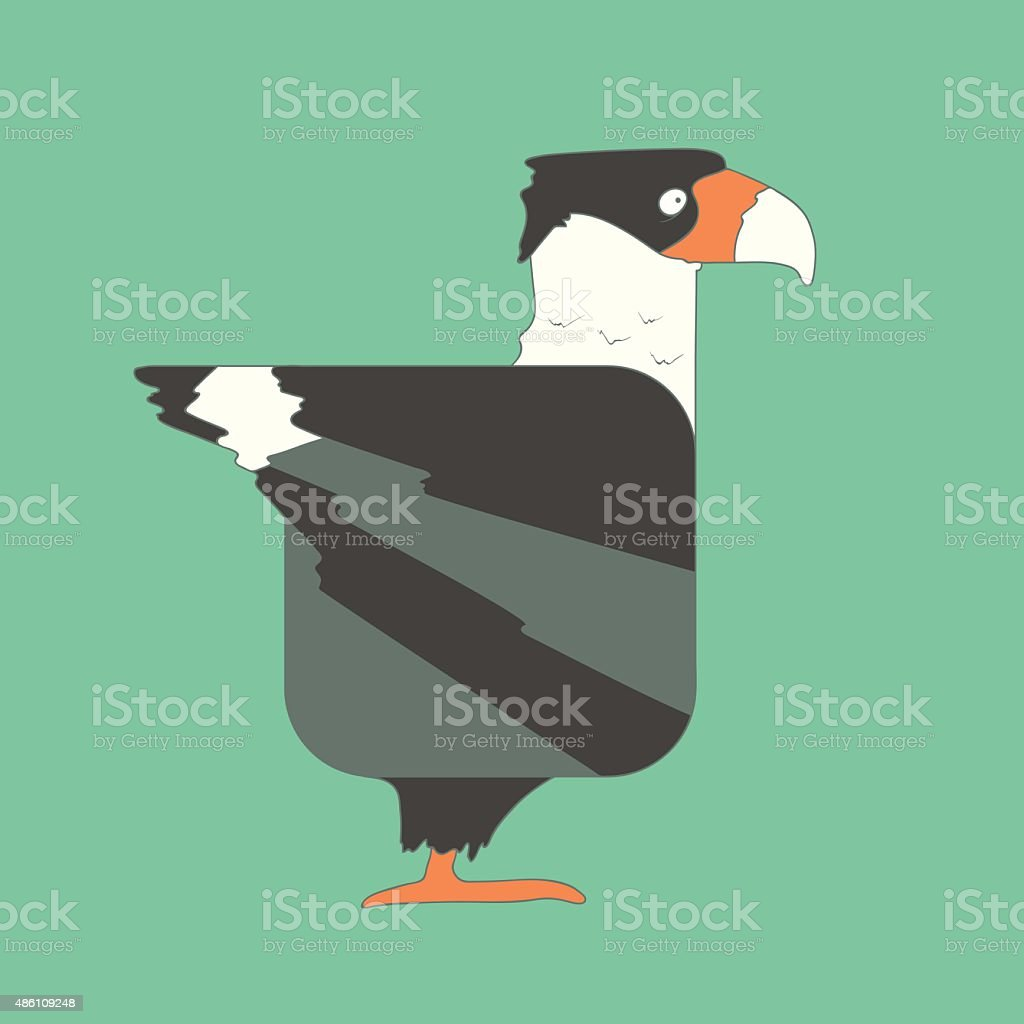 Hand drawn flat square icon bird isolated on green background vector art illustration