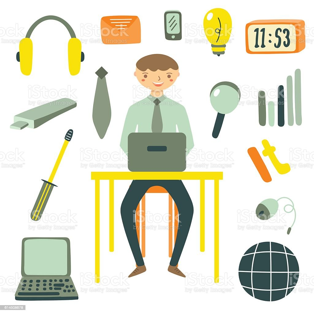 Hand drawn flat style computer specialist vector art illustration