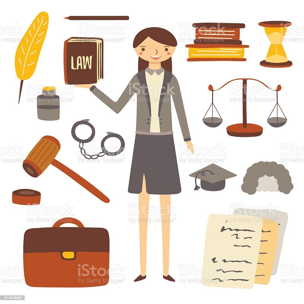 Hand drawn flat style woman lawyer vector art illustration