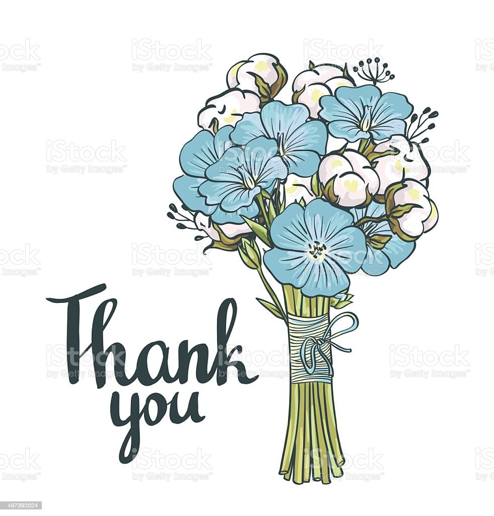 Hand drawn flax and cotton.  Thank you card. vector art illustration